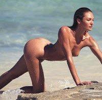 Porque nunca é demais, Candice Swanepoel nua na praia