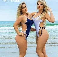 Micheline Cruz e Caroline Aguiar na revista Sexy